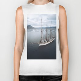Sailing Ship in front of a Mountain Valley in Norway Biker Tank