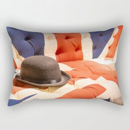 Black Bowler Hat on Union Jack Chesterfield Sofa Rectangular Pillow