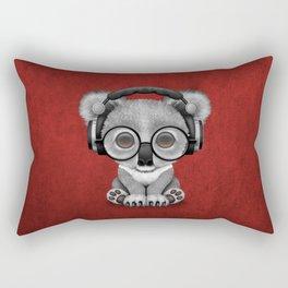 Cute Baby Koala Bear Dj Wearing Headphones on Red Rectangular Pillow