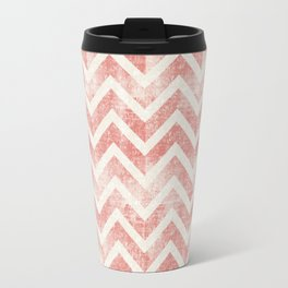 Maritime Navy Chevron Herringbone ZigZag in White Red Travel Mug