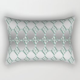 Diamond Grid Teal on Silver Tone Rectangular Pillow