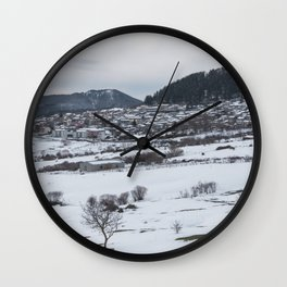 Snowy landscape from Sicily Wall Clock