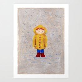 Boy In Rain Art Print
