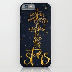 Darkness-Stars - sparkling night gold glitter typography Slim Case iPhone 6s