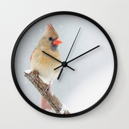 Female Northern Cardinal Wall Clock