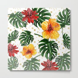Tropical Leaves with Hibiscus and Red Flower Metal Print
