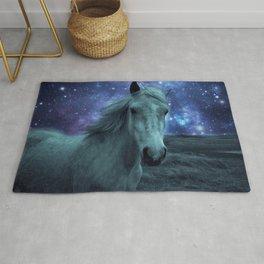 Fairy tale Horse Dark Blue Galaxy Skies Rug