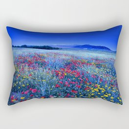 Spring poppies at blue hour Rectangular Pillow