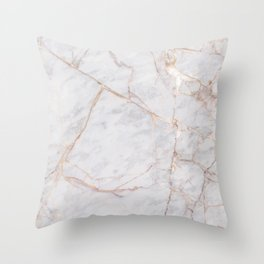 White Italian Marble & Gold Throw Pillow