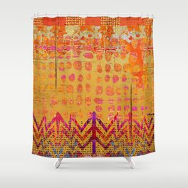 Gold and Orange Dot Abstract Art Collage Shower Curtain