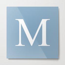 Letter M sign on placid blue background Metal Print