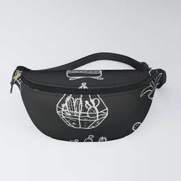 Minimalist Cacti Collection White on Black Fanny Pack