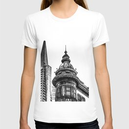 pyramid building and vintage style building at San Francisco, USA in black and white T-shirt