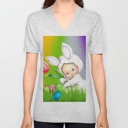 Easter Lawn Celebration Unisex V-Neck