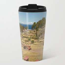 Houses of Local Peruvian People Living on Taquile Island, Peru Travel Mug