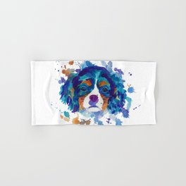 The cavalier king Charles Spaniel portrait in blue Hand & Bath Towel