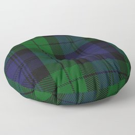 chainsaw blue & green - holiday and everyday black blue tartan black watch plaid check Floor Pillow