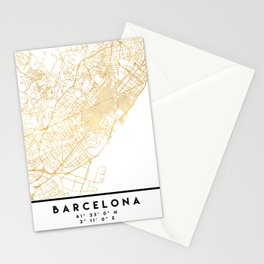 BARCELONA SPAIN CITY STREET MAP ART Stationery Cards