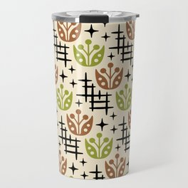 Mid Century Modern Space Flower Pattern Brown and Chartreuse Travel Mug