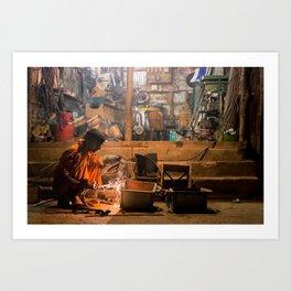 Working until late. Mongla, Bangladesh. Art Print