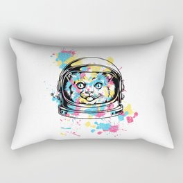 An astrocat and random color patches Rectangular Pillow