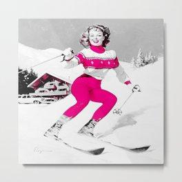 Snow Bunny Pin Up Girl Pink Metal Print