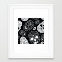 sugar skulls Framed Art Prints featuring Sugar Skulls by Zen and Chic