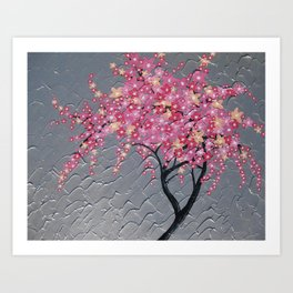 pink and grey japanese cherry blossom design japan sakura blossoms pretty art case for throw pillow Art Print