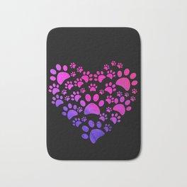 Animal Paws Heart print For Dog Lovers Bath Mat