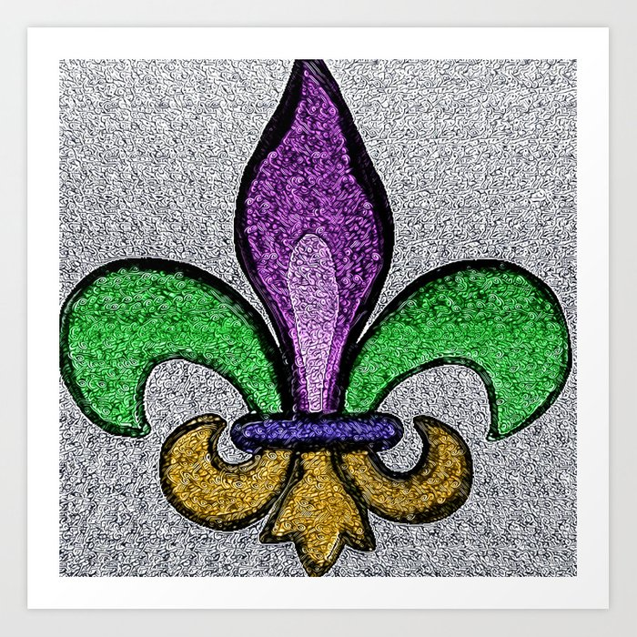 Fleur De Lis Purple Green and Gold Art Print