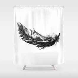 Feather- B&W // Illustration Shower Curtain
