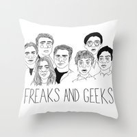 cactei Throw Pillows featuring Freaks and Geeks by ☿ cactei ☿