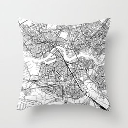 Rotterdam White Map Throw Pillow