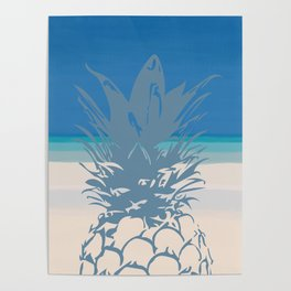 Pineapple Tropical Beach Design Poster
