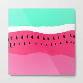 Modern summer watermelon color block neon pink turquoise Metal Print