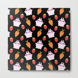 Cute funny Kawaii pink little baby bunnies, happy orange carrots and ripe juicy summer strawberries adorable lovely black fruity pattern design. Nursery decor ideas. Metal Print