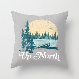 Vintage Retro Up North Lake Throw Pillow