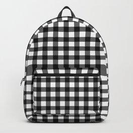Gingham Print - Black Backpack