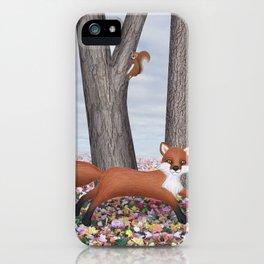 fox and squirrel iPhone Case