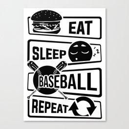 Eat Sleep Baseball Repeat - Home Run Strike Batter Canvas Print