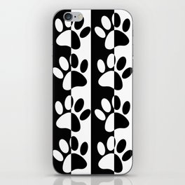 Black And White Dog Paws And Stripes iPhone Skin