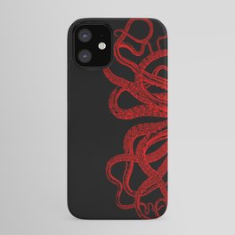 Red Vintage Octopus  Tentacles Illustration iPhone Case