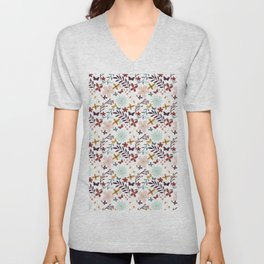 Botanical pink teal country flowers cute butterfly Unisex V-Neck