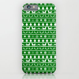 Green & White Nordic Ugly Sweater Christmas Pattern iPhone Case