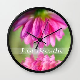 Just Breathe Pink Dahlia Wall Clock
