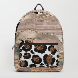 Glamour Girl Leopard Skin And Marble Backpack
