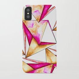 Pink gold yellow watercolor triangles pattern iPhone Case
