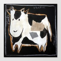 cow Canvas Prints featuring cow by woman