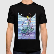 Bath Time Octopus Mens Fitted Tee SMALL Black