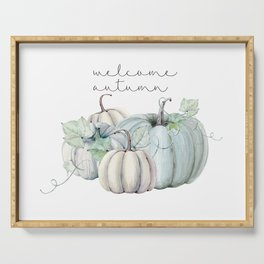 welcome autumn blue pumpkin Serving Tray